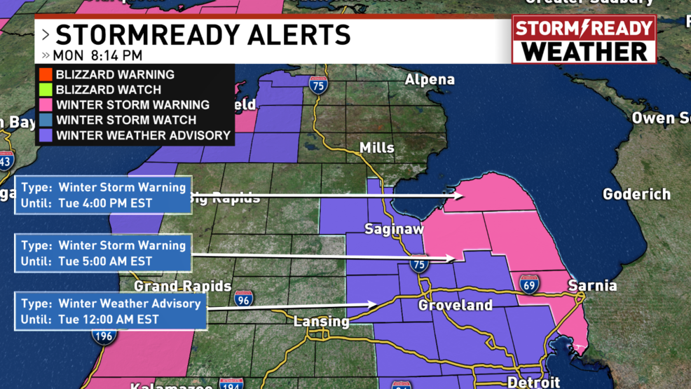 Accumulating Snow Continues To Batter Portions Of Mid Michigan Now Comes The Arctic Air Weyi
